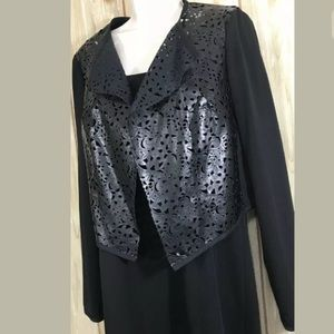 ANNE KLEIN Sz 10 Black DRESS & JACKET SET